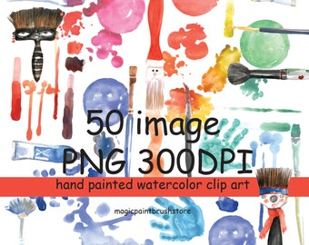 Watercolor clipart Painting brush clipart Digital clip art