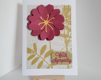 Handmade 3D Sympathy Card, With Sympathy Cards, Thinking of you cards, Cards for sad times
