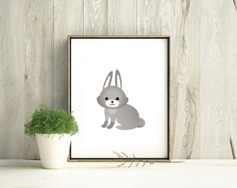 Gray Rabbit on white. Digital art print includes 3 sizes, 11x14, 8x10 and 5x7. Perfect for home, office, nursery or children's room decor!