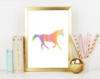 Rainbow Watercolored Unicorn / Digital Download / Nursery Decor / Child's Room Print / Baby Shower Gift / Included: 16x20, 11x14, 8x10, 5x7