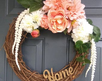 Peach Spring Wreath