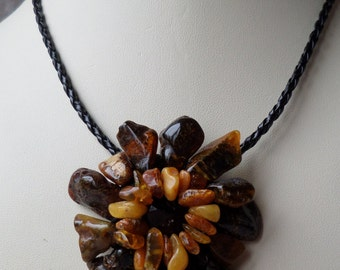 17,7-19,3Inch Nice Vintage Original FLOWER Mixed Genuine Baltic Amber Necklace