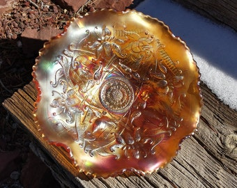 Vintage Northwood Carnival Glass Bowl - Wishboone in Marigold - Footed Bowl - Ruffles and Rings - Ruffled Dish