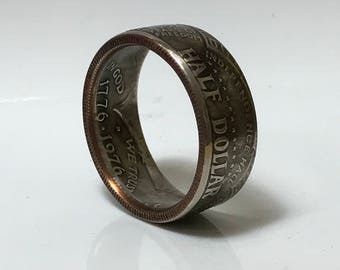 BiCentennial 1776-1976 Half Dollar Coin Ring - Tails Out