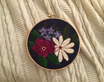Hand Embroidered Floral Arrangement