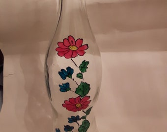 Floral glass bottle