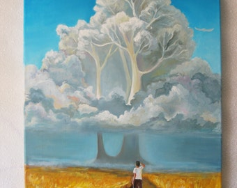 Fantastic tree, Yellow field,  Blue sky  oil,  Original oil painting,  Unusual landscape
