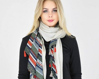 Geometric Beige Scarf / Spring Summer Scarf / Womens Scarves / Gift for her / Fashion Accessories / Ladies Scarves