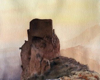 Original watercolor, painting of a castle, landscape