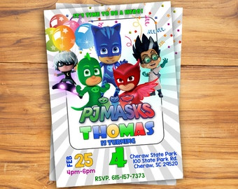 PJ Mask Birthday Invitation, PJ Mask Invitation, PJ Mask Birthday, Birthday Party, Printable Invitation, Personlized Invitation