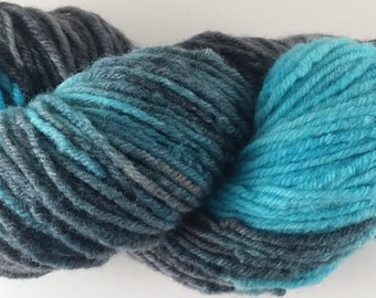 50/50 - Teal and Black  - 100% Superwash Merino Wool SW Hand Dyed Worsted Weight Yarn