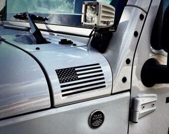 American Flag Jeep Wrangler Unlimited | Sahara | JK | TJ | Vinyl Decal Sticker Emblem Logo Graphic