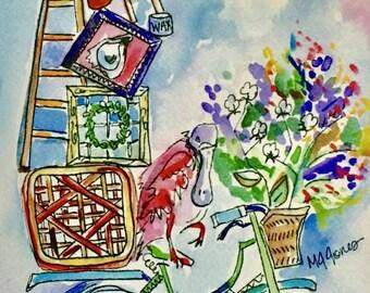 "Watercolor ""Junk In My Trunk"" Print // Whimsical Art Print // Roseate Spoonbill Art"