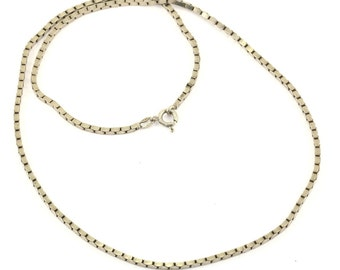Vintage Box Style Chain Necklace 925 Sterling Silver NC 829