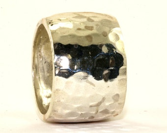 Vintage Israel Designer Hammered Band Cigar Ring 925 Sterling Silver RG 2129