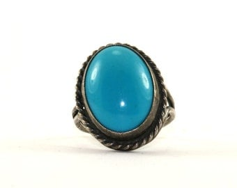 Vintage Blue Stone Cable Frame Ring 925 Sterling Silver RG 1128