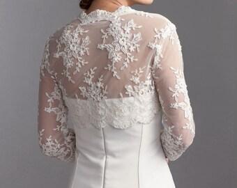 Bridal lace bolero, 3/4 sleeve wedding bolero, Lace wedding bolero, Lace bolero finished with beads and sequins
