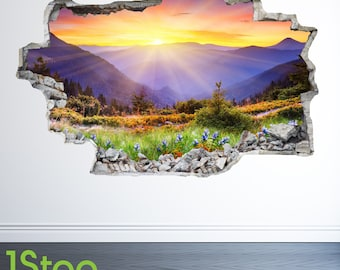 Mountain Meadow Sunset Wall Sticker 3d Look - Lounge Nature Wall Decal Z39