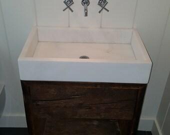 Stone Sink White Rhino Marble Bathroom Vanity