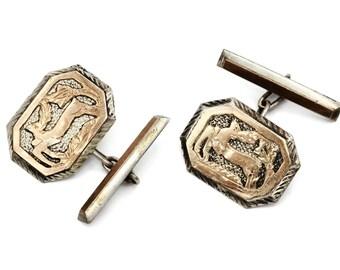 Mens Cufflinks, 900 Silver And Rose Gold, Deer Cufflinks, Reindeer Jewelry, Antique 1920s, Mens Jewelry, Octagonal Edwardian Cuff Links