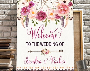 Boho Floral Printable Wedding Sign. Bohemian Watercolor Flowers. Boho Wedding Decor. Feathers Welcome Sign. Rustic Dreamcatcher. FLO13