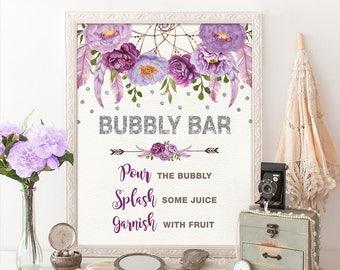 Silver Purple BUBBLY BAR Printable Sign. Floral Boho Bridal Shower Sign. Mimosa Bar. Dreamcatcher Flower Bridal Decoration Decor. FLO12BS