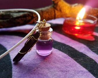 Indigo Potion Necklace w/ Quartz