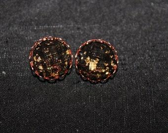 12 Black Glitter Cabochos Rose Gold Earring Studs