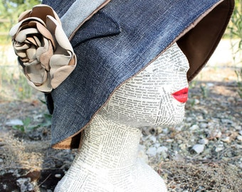 Remake cloche in jeans, with leather flower