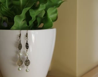 Hand Crafted Gold & White Earrings