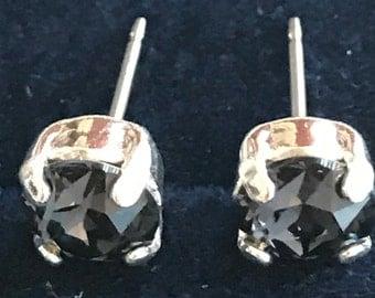 6mm, Graphite Swarovski Crystal Stud Earrings