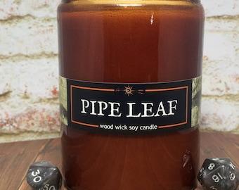 Halfling PIPELEAF Candle//Book-Fantasy-RPG-Geek Gift//12oz Potion Jar//Optional Lid//Wood Wick, Soy Wax, Artisan// Epic Adventure Candle Co.
