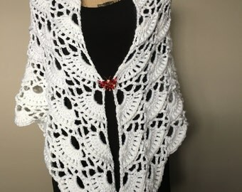 Wedding White Summer Shawl, Crochet  Bridal Shawl, White Crochet  Shawl, Bridesmaid Shawl, Gift for Mom, Prom Shawl, Summer Shawl.
