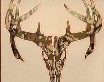 Deer skull Camo Orange outline Adults