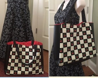 50% OFF SALE--**Last One** Awesome Cherry Checker Tote Bag with Vinyl Side Panels