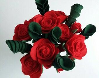 Long stem red rose felt bouquet