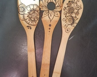 Hand Burned Bamboo Spoons