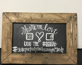 Customized Engagement / Wedding #Hashtag Chalkboard Sign | Engagement Party