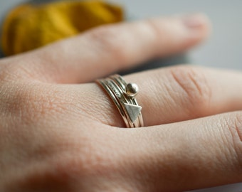 Set of 5 stacking sterling silver  rings, geometric stackable rings, 1 mm silver rings, skinny thin rings, triangle ring