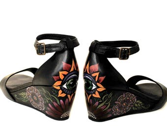 Spirit Eyes Hand Painted Upcycled  Women's Wedge Sandals