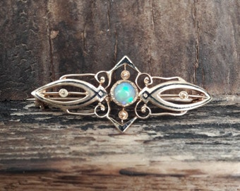 Antique filigree Opal Brooch 10k