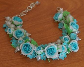 Flower bracelet, Roses jewellery, Flower bracelet, Blue bracelet, Women bracelet, Polymer clay jewelry, Roses bracelet