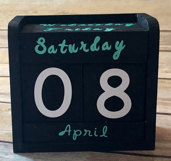 Block Calendar Hand Painted Rustic Wood Block, Perfect for Birthdays Gifts, Vinyl Lettteting, Rustic Desk Calendar, Perpetual Calendar