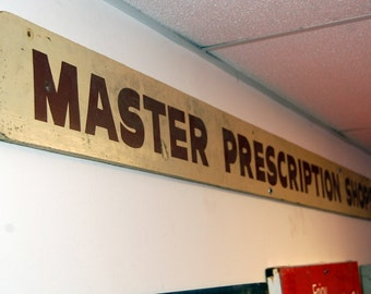 Vintage Master Prescription Shop Wood Sign, Advertising, Architectural Salvage