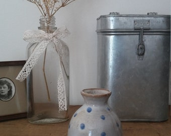 pottery vase, ceramic vase, flower vase, handmade vase, vintage vase, light blue, shabby chic, bohemian decor