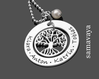 Name chain OHANA chain 925 Silver necklace engraved with tree of life family chain