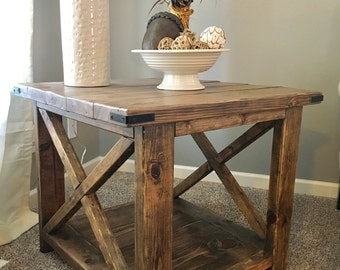 Rustic Farmhouse X Console End Table, Side Table