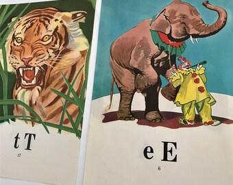 Vintage set of 2 art prints alphabet animals T Tiger E elephant P pig A apple red yellow blue green nursery kids room decor illustrations