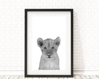 Baby lion print, Safari nursery art, Baby Shower Gift, Lion cub, PRINTABLE art, Nursery animal art, Lion wall art, Baby lion, Animal print