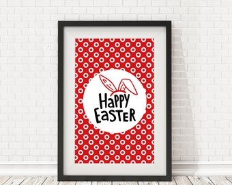 Easter Decoration, Happy easter print, Happy easter quote, Happy easter poster, Easter bunny poster, PRINTABLE quote, Easter calligraphy art